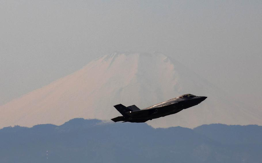 An Air Force F-35A Lightning II assigned to the 34th Fighter Squadron departs Yokota Air Base, Japan, Feb. 9, 2018.