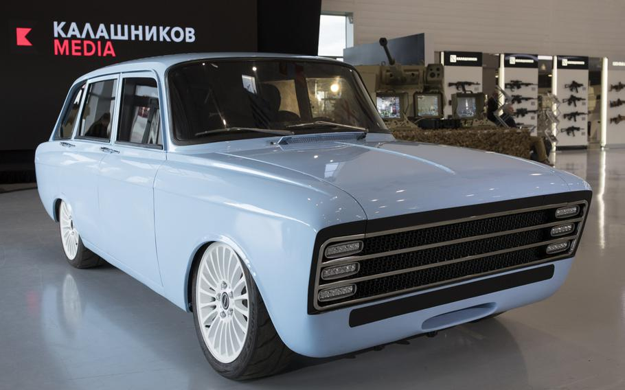 Kalashnikov's new electric concept car, the first produced by any firearms company in the world. The maker of the famous AK-47 assault rifle says it will compete with Tesla and other electric car manufacturers.