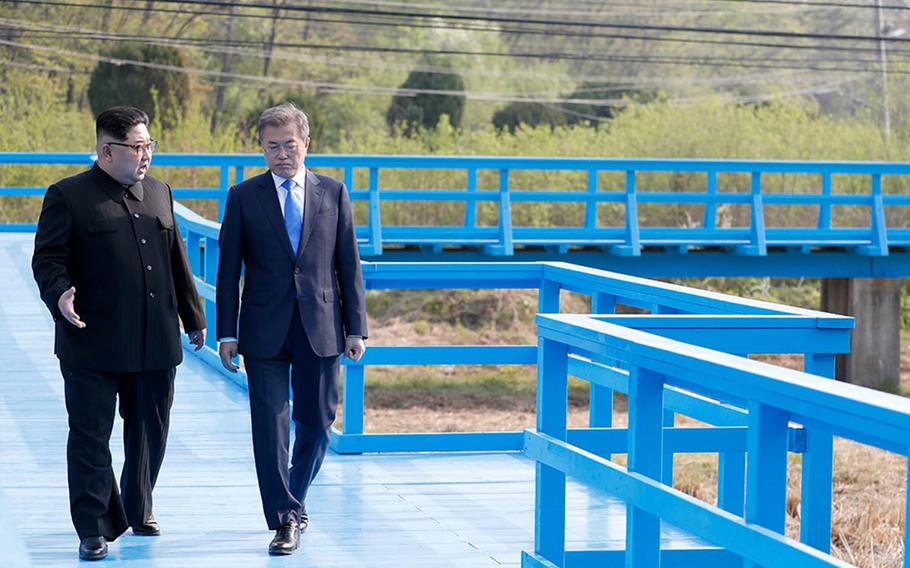 North Korean leader Kim Jong Un, left, and South Korean President Moon Jae-in meet this past spring in the Demilitarized Zone.