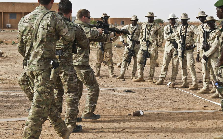 Soldiers from 3rd Special Forces Group (Airborne) train Senegal soldiers on how to clear a room in a glass house during Flintlock 2018 in Tahoua, Niger, April 13, 2018. Defense Secretary Jim Mattis said changes are in the works for how special operations forces are assigned to missions in Africa.