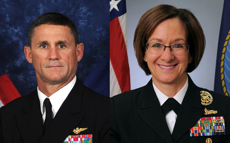 Vice Adm. Andrew Lewis, commander of the U.S. Navy's 2nd Fleet, left, and Vice Adm. Lisa Franchetti, 6th Fleet commander met at the Navy's European headquarters in Naples, Italy, to discuss how they will work together to monitor Russia's increasing activity in the north Atlantic Ocean.