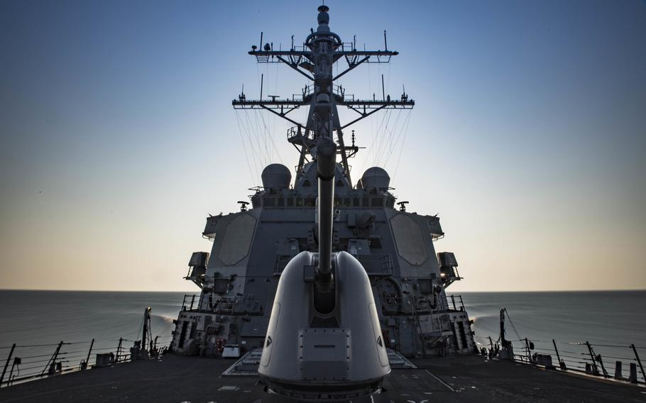 The guided-missile destroyer USS Carney transits the Mediterranean Sea Aug. 1, 2018.