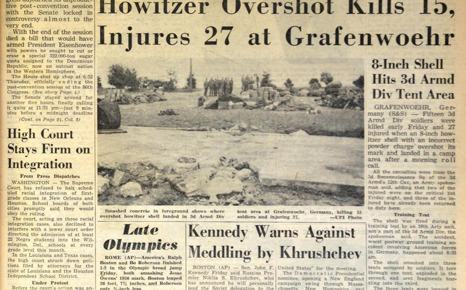 The front page of Stars and Stripes on Sept. 3, 1960.A day earlier an ill-aimed artillery shell caused the deadliest accident in Grafenwoehr Training Area history, when it killed 16 soldiers and wounded another 27