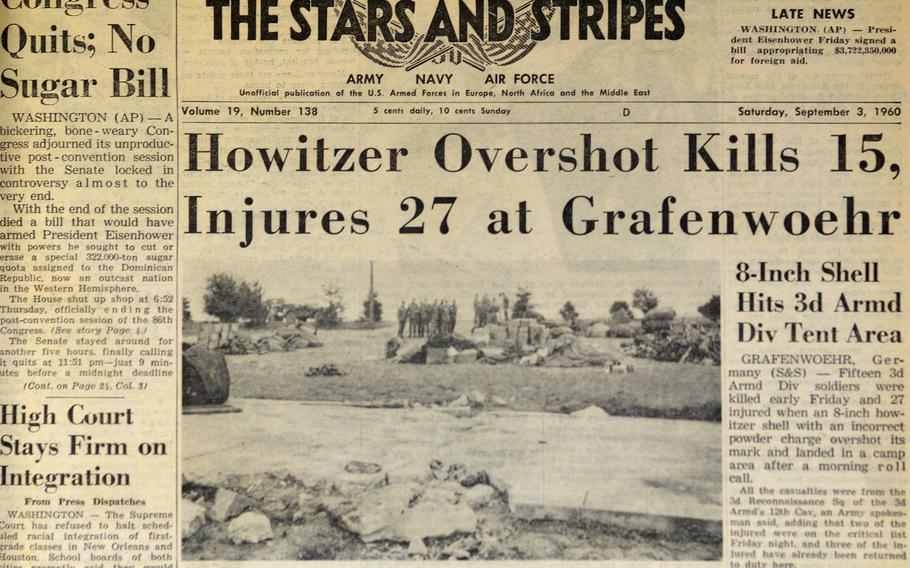 The front page of Stars and Stripes on Sept. 3, 1960. A day earlier an ill-aimed artillery shell caused the deadliest accident in Grafenwoehr Training Area history, when it killed 16 soldiers and wounded another 27.