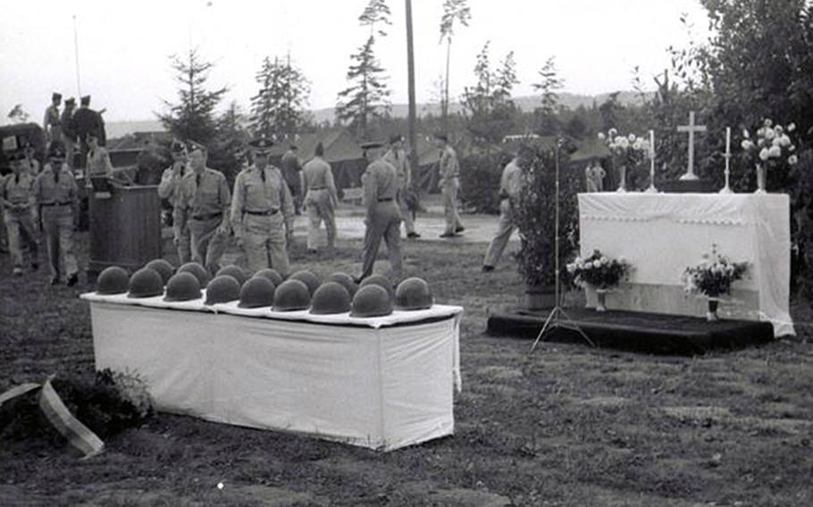 The table with the 16 helmets in front of the altar. The memorial service for the victims of the accident was held Sept, 4, 1960.