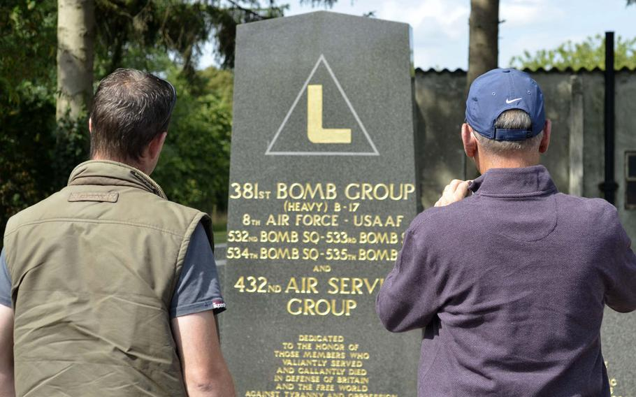 British farmer Andy Cox, left, and American Ken Spatz visit a memorial for the 318st Bomb Group in Ridgewell, England, Friday, Aug. 31, 2018. Spatz's father, also named Ken Spatz, was a waist gunner on board a B-17 that crashed shortly after takeoff on July 13,1944.