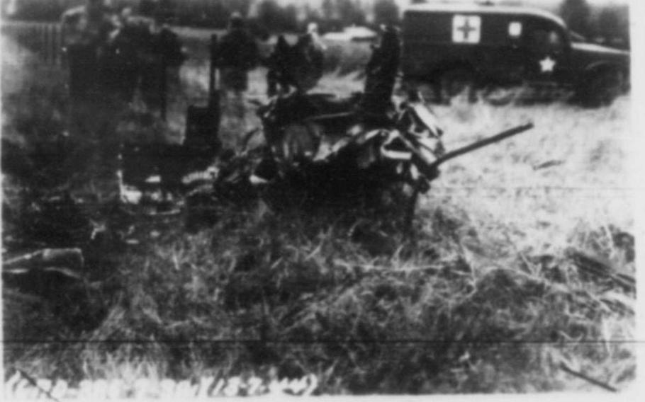 Photo of the crash of a B-17 Flying fortress named Smashing Thru in Ridgefield, England, July 13,1944. Eight crew members were killed as the plane skidded into an unseen railroad cut during an emergency landing.  Photo Courtesy of Andy Cox