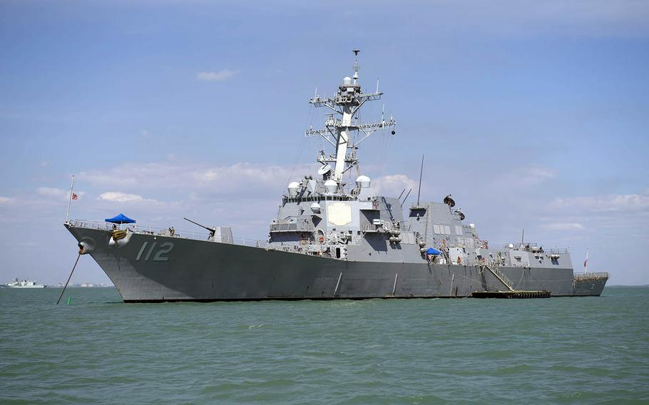 The guided-missile destroyer USS Michael Murphy is anchored in Darwin Harbor for Australian exercise Kakadu 2018, Friday, Aug. 31, 2018.