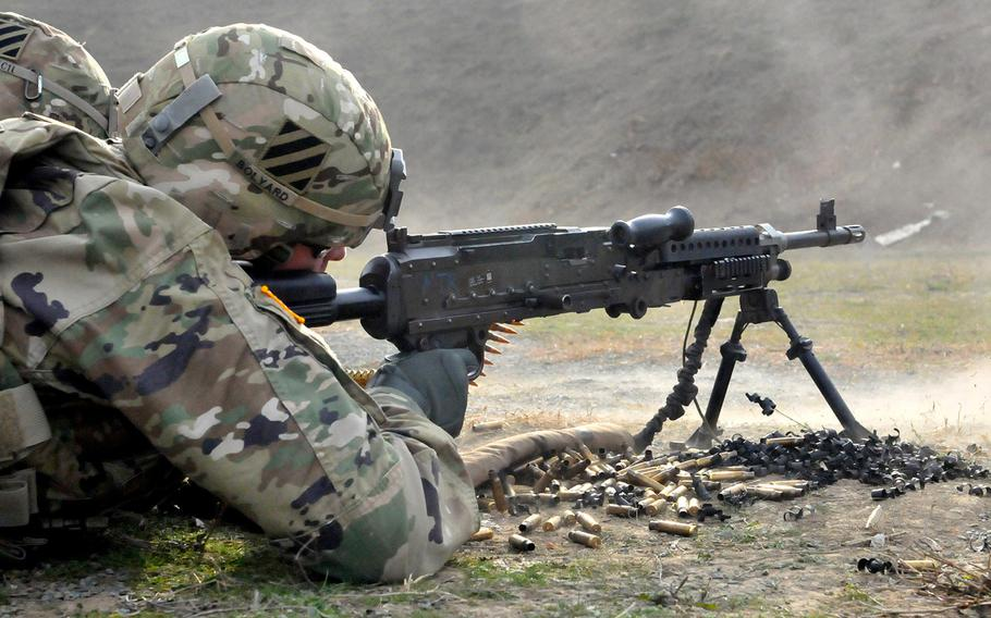Then-Sgt. Maj. Timothy A. Bolyard, of 5th Squadron, 7th Cavalry, fires an M249 squad automatic weapon at MK Air Base in Romania on Nov. 18, 2015. Bolyard was identified as the soldier killed in an insider attack in eastern Afghanistan on Monday, Sept. 3, 2018.