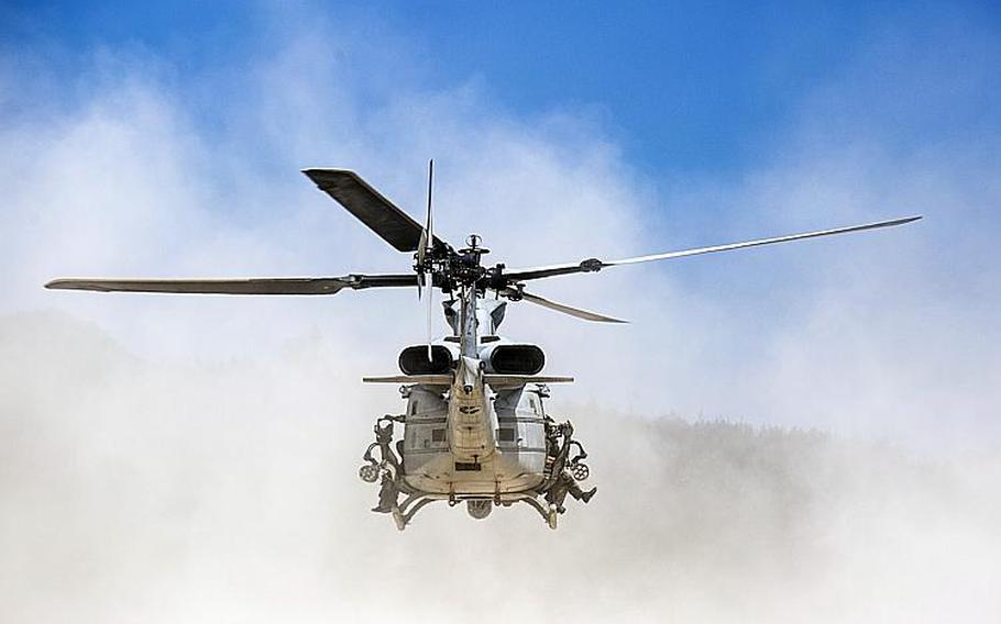 A UH-1Y Venom departs from a beach during an exercise on Okinawa on July 25, 2018.