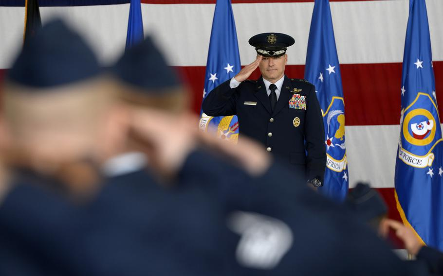 Maj. Gen. John Wood receives his first salute as the 3rd Air Force commander during a change-of-commander ceremony at Ramstein Air Base, Germany, Friday, Sept. 7, 2018.