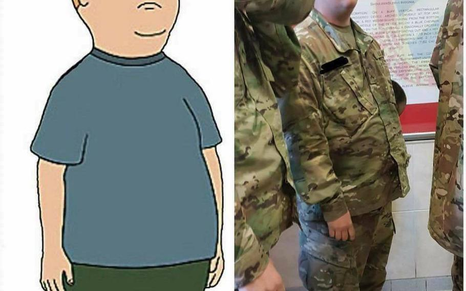 """Pvt. 1st Class Andrew Hartmann was featured in a """"King of the Hill"""" meme in 2017."""