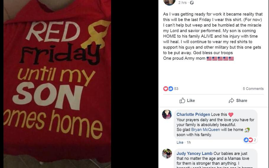 A Facebook post Friday, Sept. 7, 2018, shows Renae Spurlock's relief that her son, Staff Sgt. Bryan McQueen, would be returning home after McQueen suffered injuries in an insider attack Monday, Sept. 3, 2018.