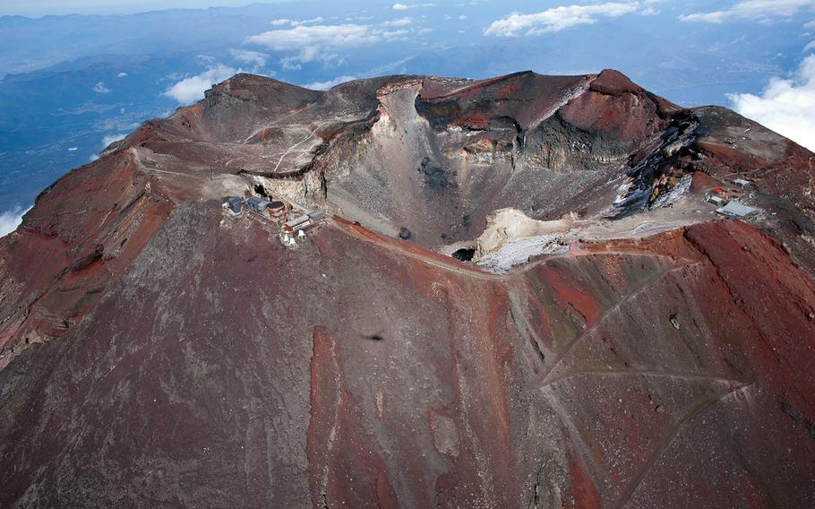 The crater of Mount Fuji is seen in 2011.