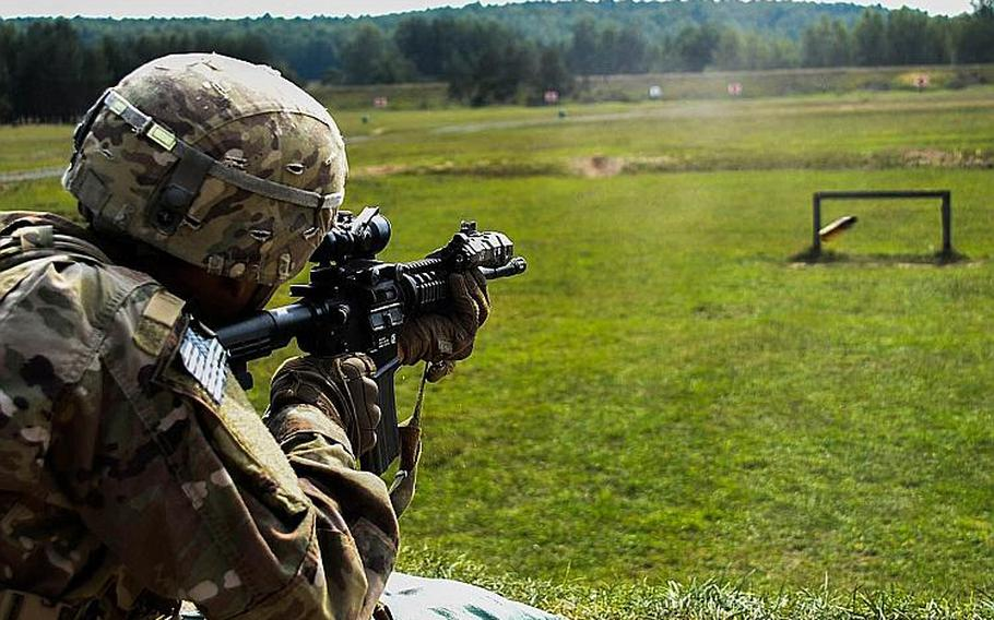 Soldiers from 1st Battalion, 503rd Infantry Regiment qualify with their M4 assault rifles in Grafenwoehr, Germany, Sept. 6, 2018 during the Saber Junction exercise.