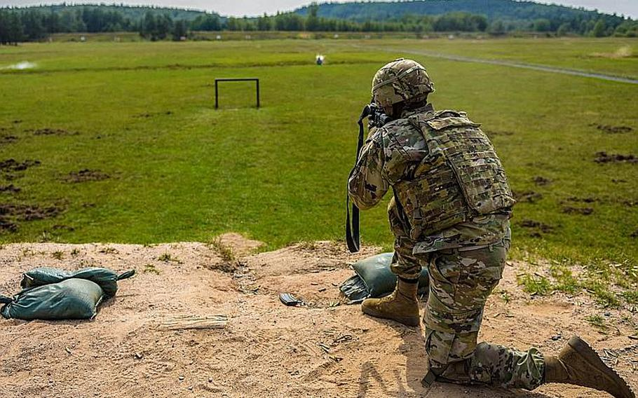 A soldier from the 1st Battalion, 503rd Infantry Regiment qualifies with his M4 during the Saber Junction exercise in Grafenwoehr, Germany, Sept. 6, 2018.