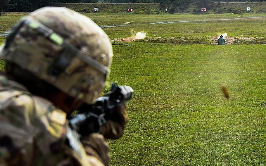 A soldier from 1st Battalion, 503rd Infantry Regiment qualifies with the M4 assault rifle in Grafenwoehr, Germany, Sept. 6, 2018 during exercise Saber Junction 18.