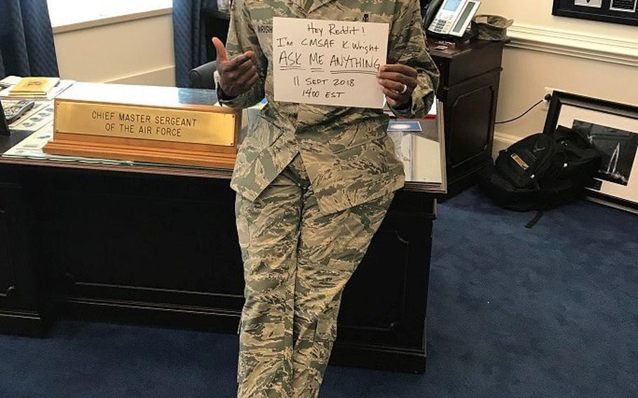 Chief Master Sergeant of the Air Force Kaleth Wright fielded questions from airmen Tuesday night on the popular online forum Reddit. Hundreds of questions popped up over several hours, with Wright answering some and pledging to answer others at a later date.