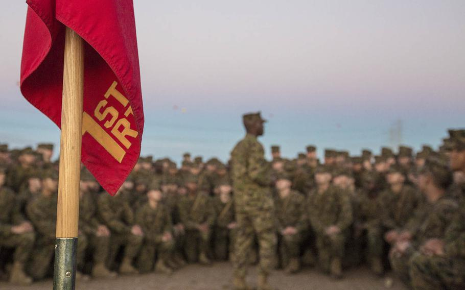 A drill Instructor with Marine Corps Recruit Depot San Diego speaks to recruits at Camp Pendleton, Calif., Feb. 23, 2017.