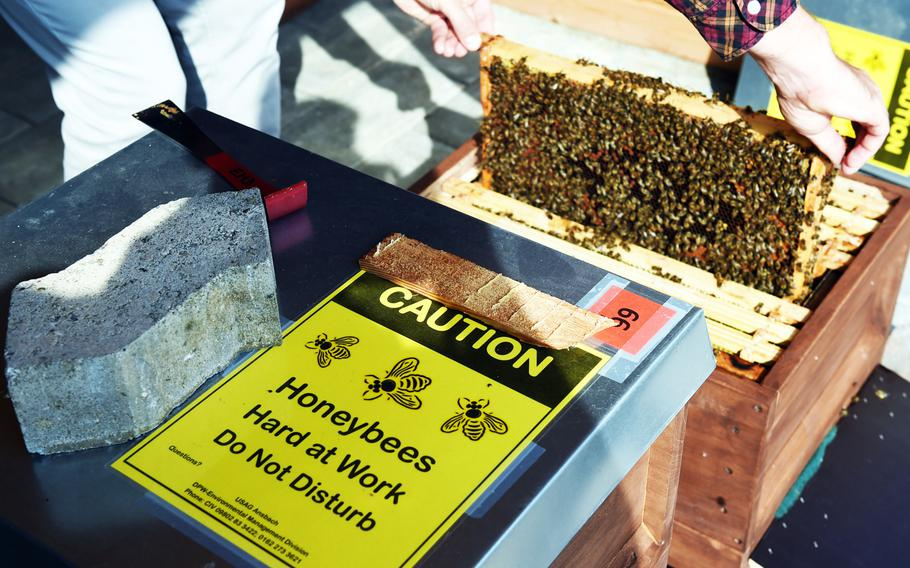 A sign warns people not to disturb the bees at U.S. Army Garrison Ansbach, in Ansbach, Germany, Friday, Sept. 7, 2018. A group has set up what they call a Bee Haus to benefit plant life in the area.