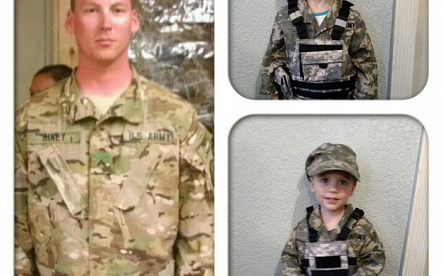 This undated family photo compilation shows then-Cpl. Douglas J. Riney and his daughter, Elea, and son, James. Douglas Riney died on Oct. 19, 2016, of wounds received in an attack on a base outside Kabul, Afghanistan.