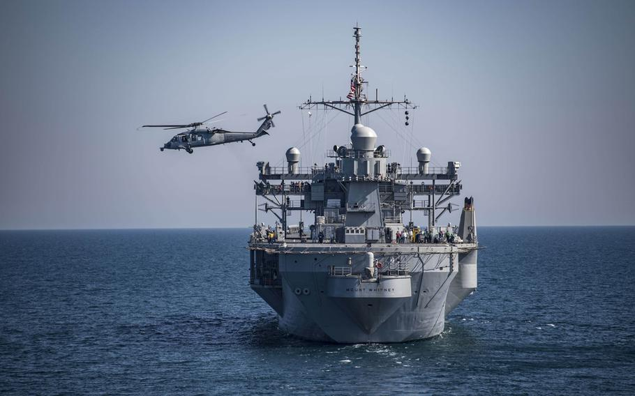 An MH-60 Sea Hawk helicopter, assigned to the Ghostriders of Helicopter Sea Combat Squadron 28, takes off from the USS Mount Whitney during exercise Sea Breeze 2018 in the Black Sea, July 13, 2018. Ukraine's government announced Sunday that will establish a naval base along the Sea of Azov before the end of the year.