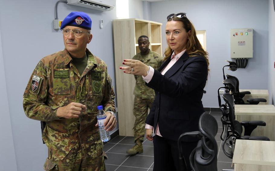 Italian Maj. Gen. Antonio Bettelli tours the new passenger terminal at Resolute Support headquarters in Kabul, Afghanistan, June 3, 2018.