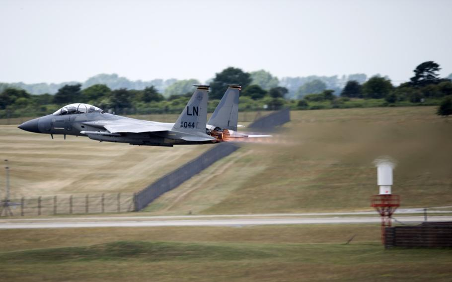 An F-15D takes off at RAF Lakenheath, England, in June of 2018. An F-15D from Lakenheath will join Ukraine for the first-ever Clear Sky exercise, scheduled to take place mid-October, primarily at Starokostiantyniv Air Base, Ukraine.