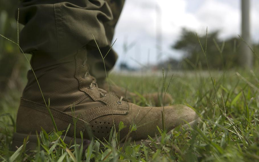 Pictured is one of the boots being tested by the U.S. Marine Corps. Marines with India Company, 3rd Battalion, 3rd Marine Regiment, flew from Hawaii to Okinawa, Japan, to test the new boots and Marine Corps combat utility uniforms at the Jungle Warfare Training Center.