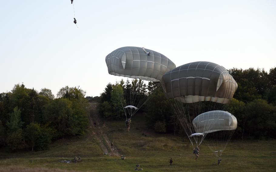 Paratroopers with the 173rd Infantry Brigade Combat Team (Airborne) jump on Wednesday, Sept. 19, 2018, during Exercise Saber Junction 18 at Hohenfels, Germany.