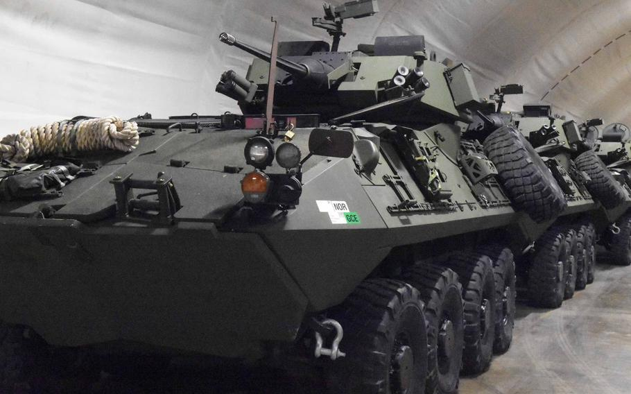 Marine LAV-25s stored inside of one of the Marine Corps Pre-Positioning Norway caves in the Trondelag region of northern Norway, Friday, Feb. 2, 2018. The Defense Department Inspector General found that some equipment isn't being properly stored and maintained in Europe.