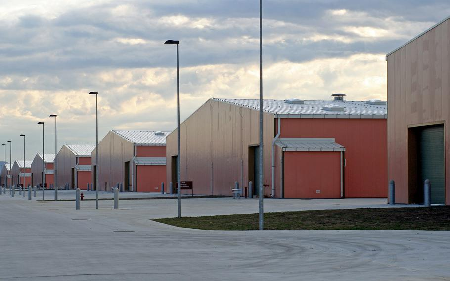 A row of warehouses at Camp Darby in Livorno, Italy. The Defense Department Inspector General found that some equipment isn't being properly stored and maintained in Europe, including at Livorno's Leghorn Army Depot.
