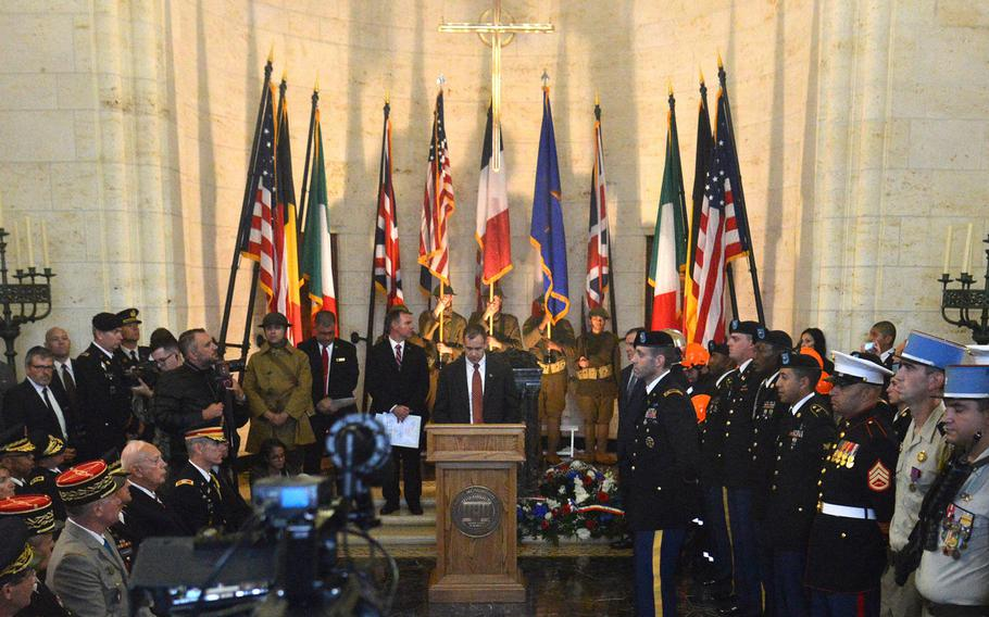 Wind and heavy rains forced the American Battle Monuments Commission to move its ceremony marking the Meuse-Argonne Offensive centennial inside the chapel at Meuse-Argonne American Cemetery, where it was standing-room only.