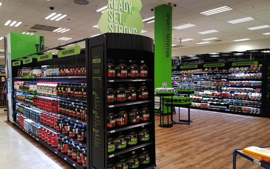 The protein powder section is vast at the new Sports and Nutrition Shop inside the main exchange at Grafenwoehr, Germany, pictured here on Monday, Sept. 24, 2018.