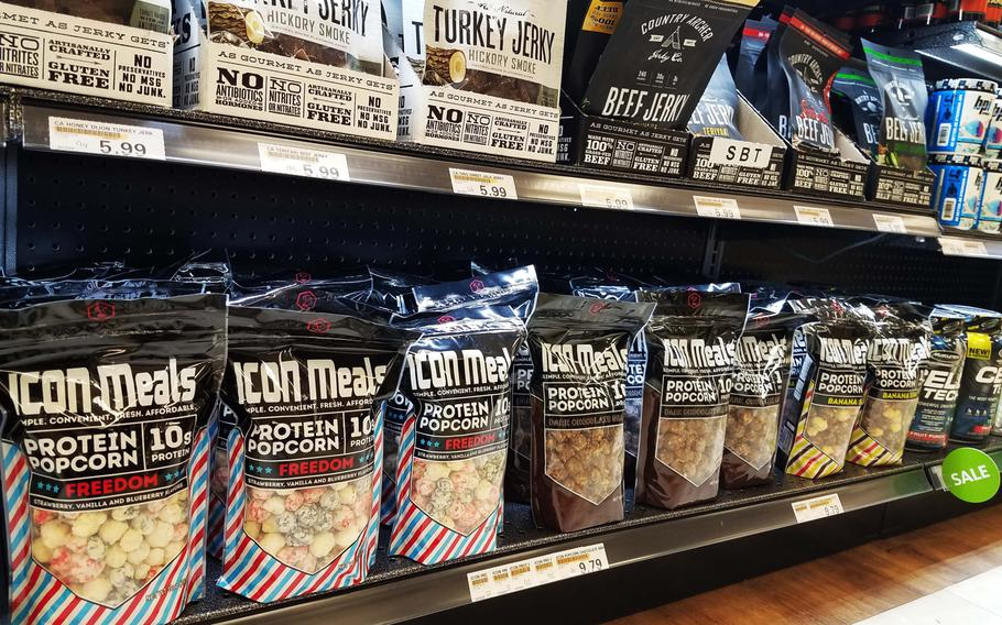 Protein popcorn and other snacks are on sale at the new Sports and Nutrition Shop inside the main exchange at Grafenwoehr, Germany, Monday, Sept. 24, 2018.