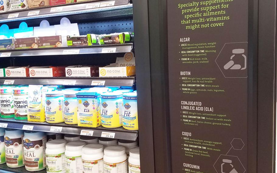 A product display includes instructions for specialty supplements at the new Sports and Nutrition Shop inside the main exchange at Grafenwoehr, Germany, Monday, Sept. 24, 2018.