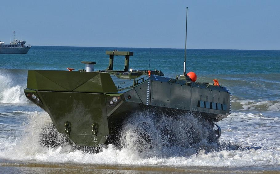 Pictured here in an undated photo is the SuperAV, developed by BAE Systems and Iveco Defense Vehicles for the Marine Corps' amphibious combat vehicle. The Corps will speed up production of the new vehicle and their delivery to forces by 125 to 150 vehicles per year, according to Marine Corps Combat Development Command.