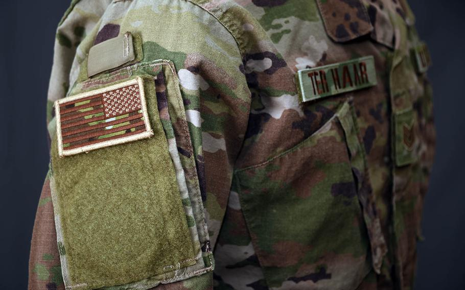 """The Operational Camouflage Pattern uniform features """"spice brown"""" name tapes."""