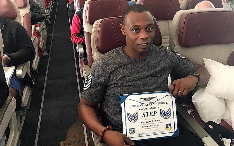 Terry White was promoted to technical sergeant before leaving Osan Air Base, South Korea, aboard a Patriot Express flight, Thursday, Sept. 27, 2018.