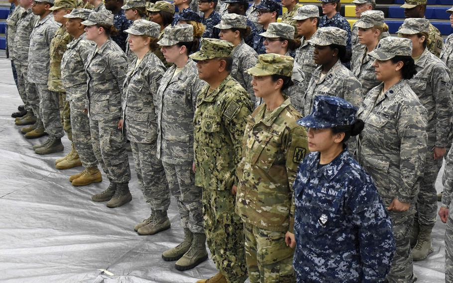 Airmen, Sailors and Soldiers stand in formation June 6, 2018, during the closing ceremony of the Alabama Innovative Readiness Training in Monroeville, Ala. In a new YouGov poll, 50 percent of those queried in the U.S. said everyone in the military is a hero regardless of his or her job.