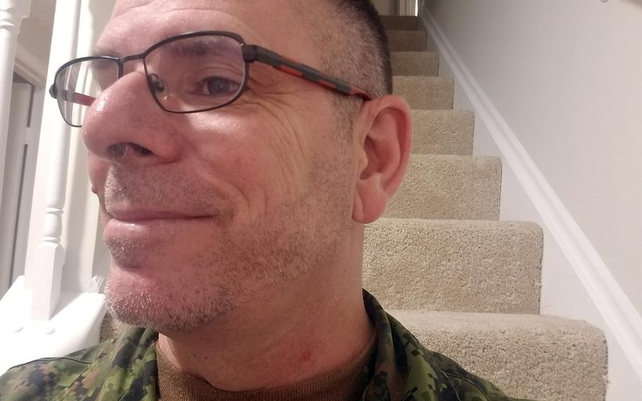 Pictured here on Friday, Sept. 28, 2018, is Maj. David Garvin of the Royal Canadian Regiment showing off three days of beard growth after Canada's military announced a new policy allowing servicemembers to grow beards.