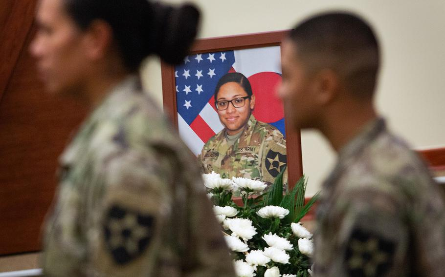 Pfc. Adrienne Barillas is remembered during a ceremony at Camp Humphreys, South Korea, Monday, Oct. 1, 2018.