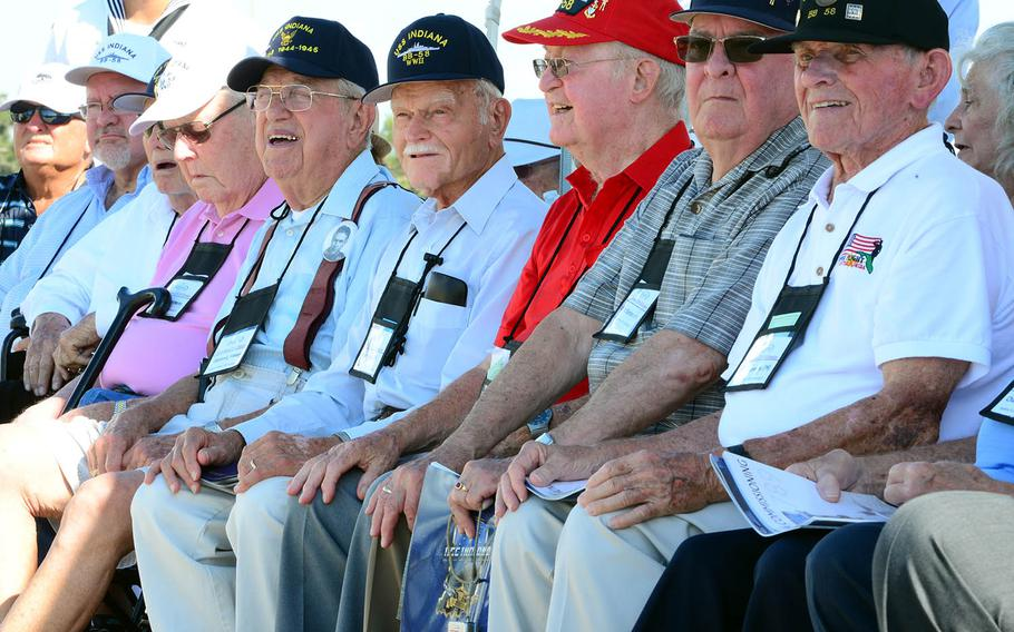 World War II veterans who were assigned to the battleship USS Indiana attend a commissioning ceremony for the USS Indiana submarine at Port Canaveral, Fla., Sept. 29, 2018.