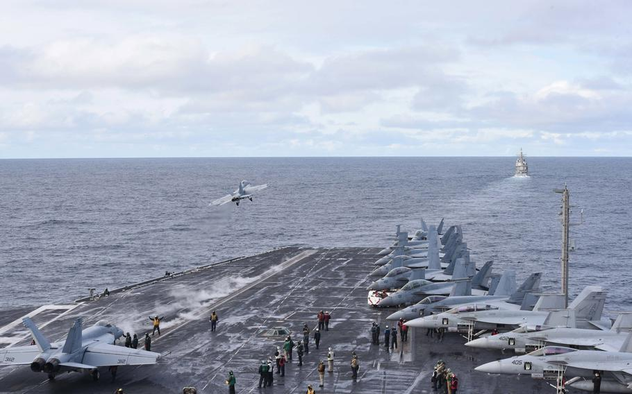 An F/A-18F Super Hornet assigned to the ''Red Rippers'' of Strike Fighter Squadron 11 launches from the flight deck of the aircraft carrier USS Harry S. Truman in the North Atlantic, Sept. 18, 2018. The Harry S. Truman Carrier Strike Group is deployed to the U.S. 6th Fleet area of operations.