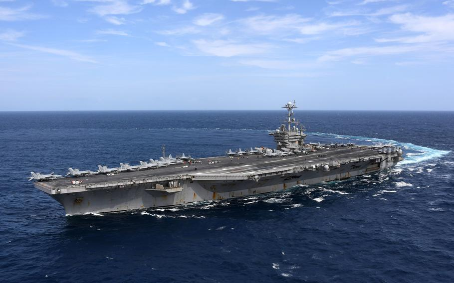 The aircraft carrier USS Harry S. Truman in the Atlantic Ocean, Sept. 11, 2018.