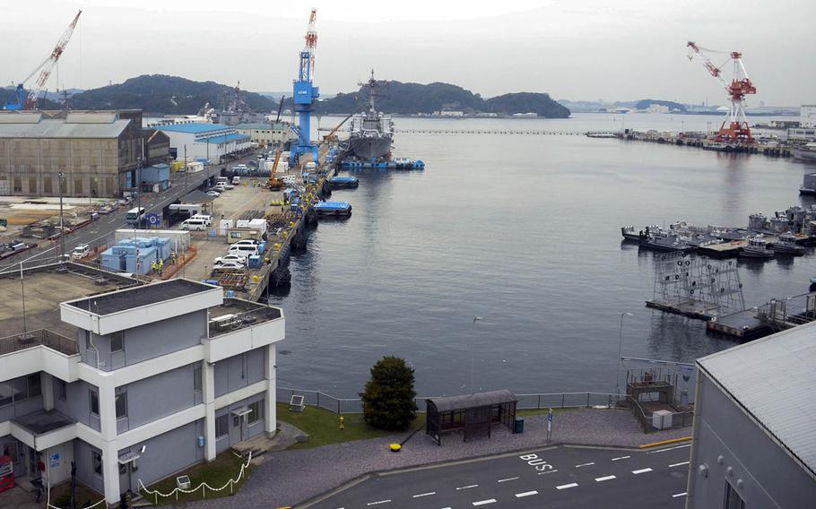 A berth at Yokosuka Naval Base, Japan, that once held the USS Blue Ridge was empty Tuesday, Oct. 3, 2018, after the 7th Fleet command ship returned to sea after two years of maintenance.