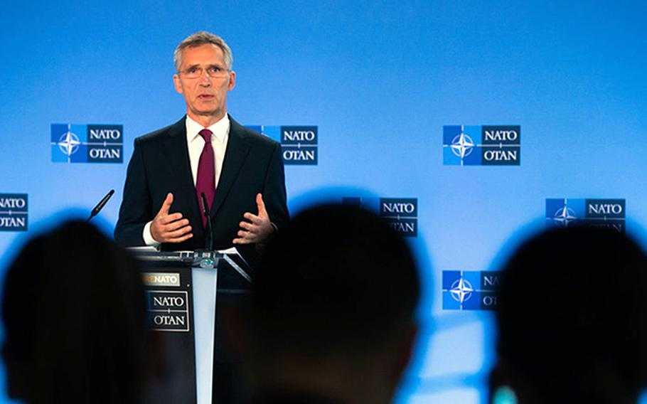 NATO Secretary-General Jens Stoltenberg talks to reporters at NATO headquarters in Brussels, Belgium, Wednesday, Oct. 3, 2018. He said he expects more nations to offer up national cyber capabilities when needed to bolster NATO defenses.