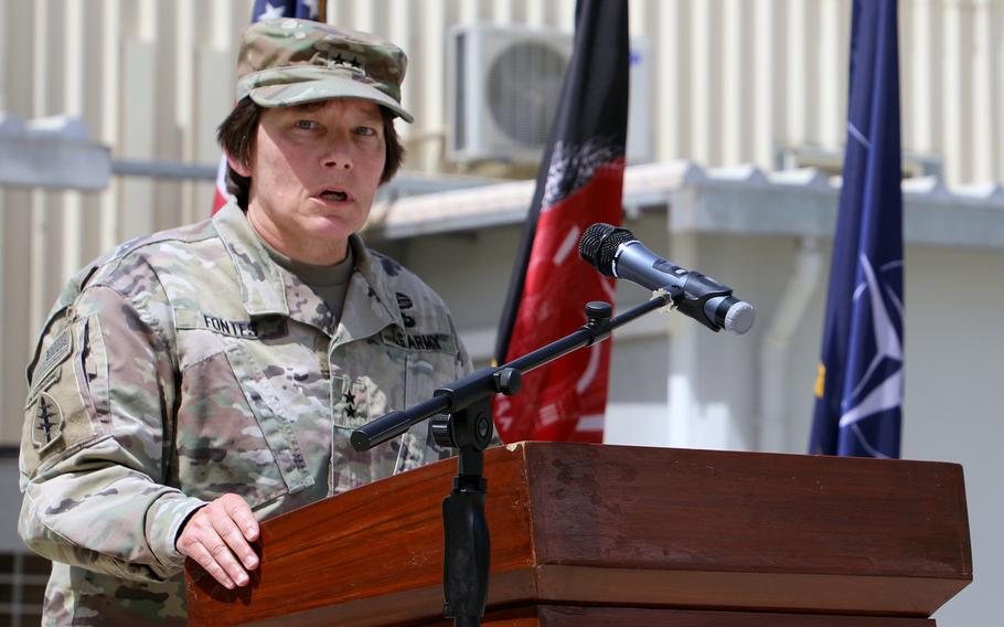 Maj. General Robin Fontes speaks during a ribbon-cutting ceremony for Combined Security Transition Command-Afghanistan's new headquarters Sept. 8, 2018, in Kabul, Afghanistan. After 15 months, Fontes is being replaced as the CSTC-A commander.