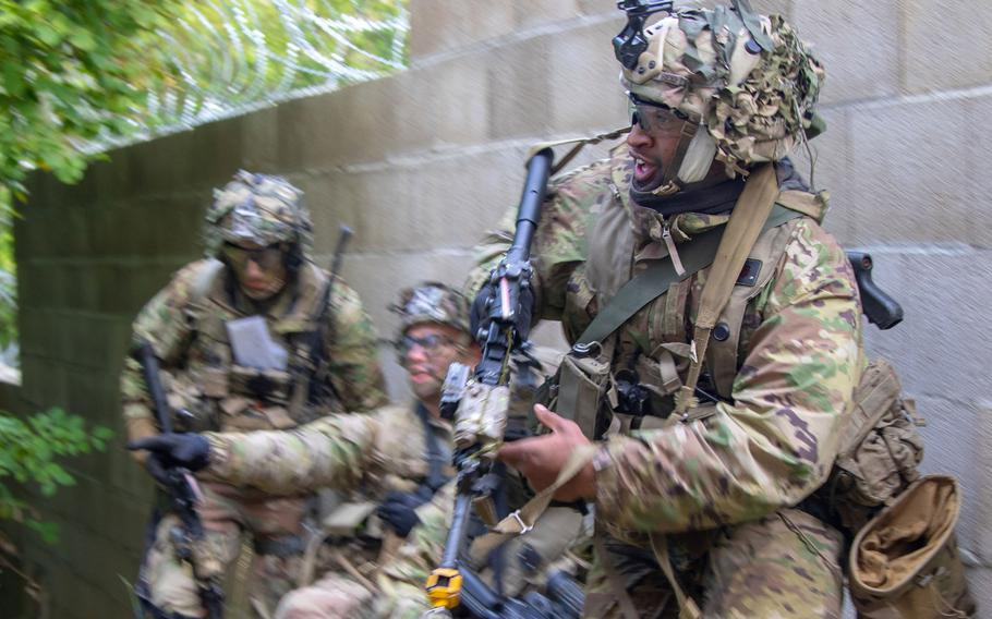Soldiers with the 173rd Infantry Brigade Combat Team (Airborne) rush to secure a strategic location during Saber Junction 18 in Hohenfels Training Area, Germany, Sept. 26, 2018. The U.S. Army could lower attrition rates if it was better at selecting its senior enlisted leaders, according to a new study.