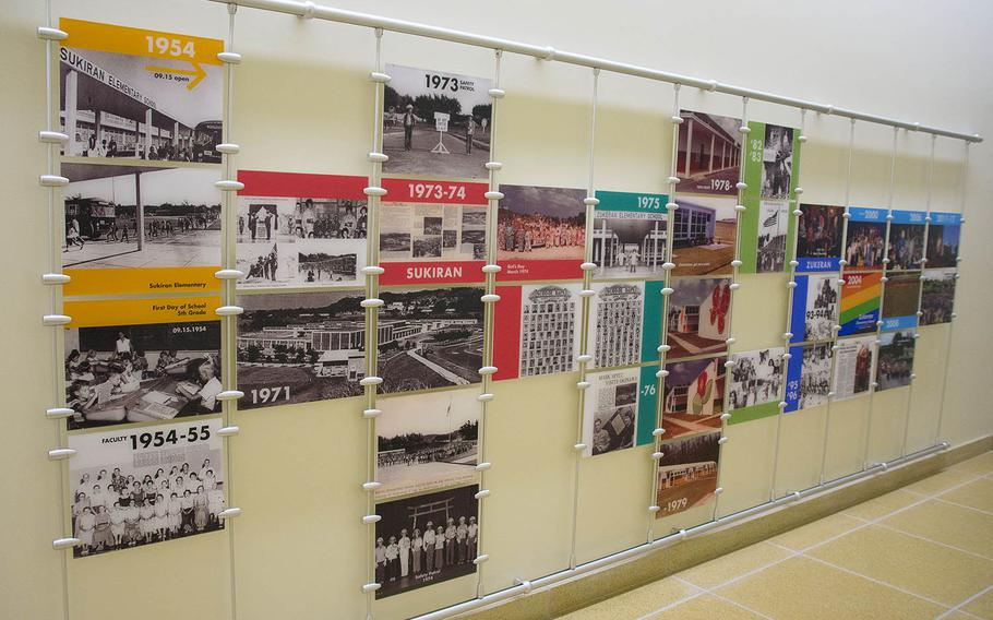 A visual timeline showing the history of Zukeran Elementary School was on display at the new facility on Camp Foster, Okinawa, Wednesday, Oct. 10, 2018.